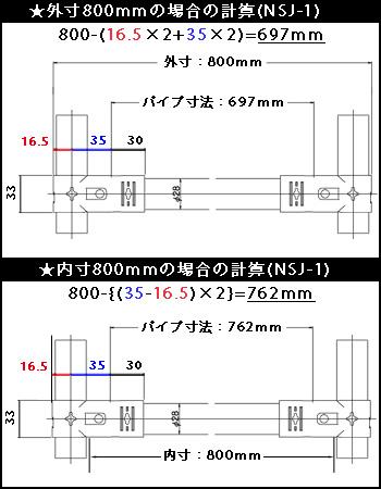 NSJ-1使用時のパイプ寸法